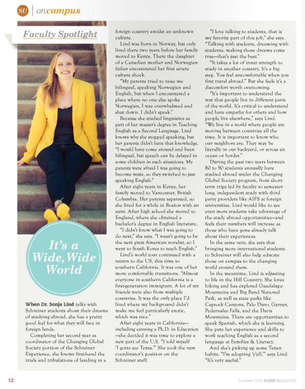 2016 Summer Scene Magazine feature on me, Sonja Lind