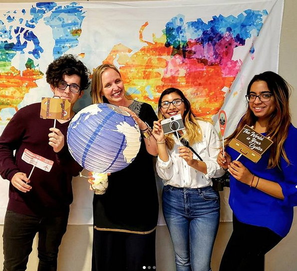 """With my student assistants Matt, Monica, and Priya at our """"Bon Voyage"""" event for outbound study abroad students and exchange students returning to their home universities."""