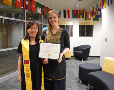 With Taiwanese exchange student Tina, on the completion of her year studying at Cal State LA