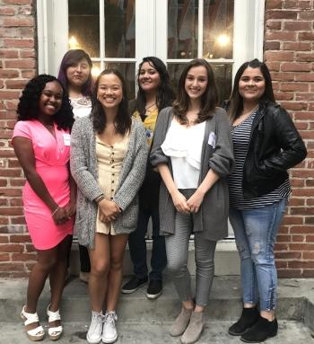 smiling women, smiling girls, group photo