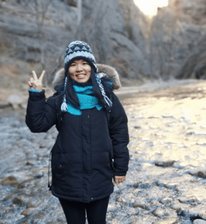 smiling girl, smiling woman, Chinese woman, Chinese student, Zion National Park